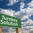 Turnkey Solution Green Road Sign Over Sky — Stock Photo
