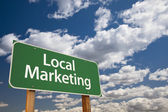 Local Marketing Green Road Sign Over Sky — Stock Photo