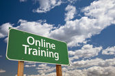 Online Training Green Road Sign Over Sky — Stock Photo