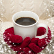 Woman in Sweater with Red Mittens Holding Cup of Coffee — Stock Photo #36431863