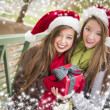 Two Smiling Women Santa Hats Holding a Wrapped Gift — Stockfoto