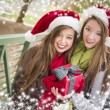 Two Smiling Women Santa Hats Holding a Wrapped Gift — Stock fotografie