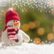 Cute Snowman Over Abstract Snow and Light Background — Stock Photo