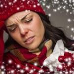 donna malata con tessuto ed effetto di neve circostante — Foto Stock #36431931