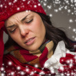 Sick Womwith Tissue and Snow Effect Surrounding — Stock Photo #36431931