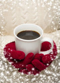 Woman in Sweater with Red Mittens Holding Cup of Coffee — Stock Photo