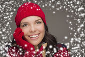 Smilng Woman Wearing Winter Hat and Gloves with Snow Effect — Stock Photo