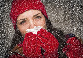 Sick Woman Blowing Her Sore Nose With Tissue and Snow — Stock Photo