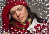 Sick Woman with Tissue and Snow Effect Surrounding — Stock Photo