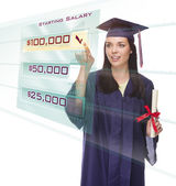 Female Graduate Choosing Starting Salary Button on Futuristic Translucent Panel — Stock Photo