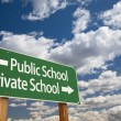 Stock Photo: Public or Private School Green Road Sign Over Sky