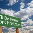 Stock Photo: I'll Be Home For Christmas Green Road Sign Over Sky