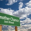 Another Chance Just Ahead Green Road Sign Over Sky — Foto Stock