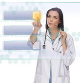 Female Doctor or Nurse Pushing Blank Button on Panel — Stock Photo