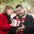 Mixed Race Couple Sharing Christmas or Valentines Day Gift Outsi — Stock Photo