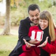 Mixed Race Couple Sharing Christmas or Valentines Day Gift Outsi — Stock Photo #36901521