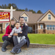Mixed Race Family, Home, Sold For Sale Real Estate Sign — Stock Photo #37189729