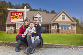 Mixed Race Family, Home, Sold For Sale Real Estate Sign — Stock Photo