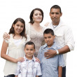 Happy Attractive Hispanic Family Portrait on White — Stock Photo #37190055