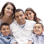 felice ritratto di famiglia attraente ispanica su bianco — Foto Stock #37190195