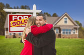 Mixed Race Couple, House, Sold Real Estate Sign — Stock Photo