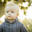 Stock Photo: Adorable Blonde Baby Boy Outdoors at Park