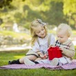 Little Girl Gives Her Baby Brother A Gift at Park — Foto Stock