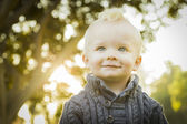 Adorable Blonde Baby Boy Outdoors at the Park — Stock Photo
