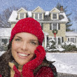 Smiling Mixed Race Woman in Winter Clothing Outside in Snow — Stock Photo