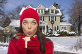 Woman in Winter Clothing Holding Mug Outside in Snow — Stock Photo