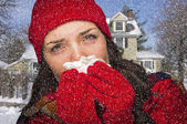 Sick Woman In Snow Blowing Her Sore Nose With Tissue — Stock Photo