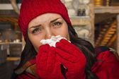 Sick Woman Inside Cabin Blowing Her Sore Nose With Tissue — Stock Photo
