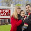 Stock Photo: Mixed Race Family, Home and For Sale Real Estate Sign