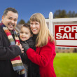 Mixed Race Family, Home and For Sale Real Estate Sign — Stock Photo #37722505