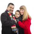 Happy Young Mixed Race Family Isolated on White — Stock Photo