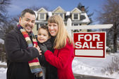 Mixed Race Family, Home, For Sale Real Estate Sign — Stock Photo