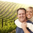 Happy Affectionate Couple at Beautiful Wine Vineyard — Stock Photo