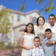 Hispanic Family in Front of Beautiful House — Stock Photo