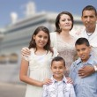Young Happy Hispanic Family In Front of Cruise Ship — Stockfoto