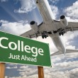 College Green Road Sign and Airplane Above — Stock Photo