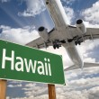 Hawaii Green Road Sign and Airplane Above — Stock Photo