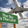 The Sky Is The Limit Green Road Sign and Airplane — Stock Photo