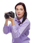 Attractive Mixed Race Young woman With DSLR Camera on White — Stock Photo