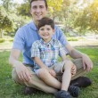 Handsome Mixed Race Father and Son Park Portrait — Stock Photo #46005375