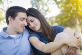 Young Attractive Couple Portrait in Park — Stock Photo