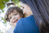 Cute Laughing Baby Girl and Mother in Park — Stock Photo