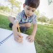 Cute Young Boy Drawing Outdoors on the Grass — Stock Photo