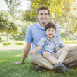 Handsome Mixed Race Father and Son Park Portrait — Stock Photo #46061557