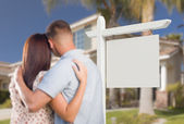 Blank Real Estate Sign and Military Couple Looking at House — Stock Photo