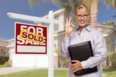 Real Estate Agent in Front of Sold Sign and House — Stock Photo